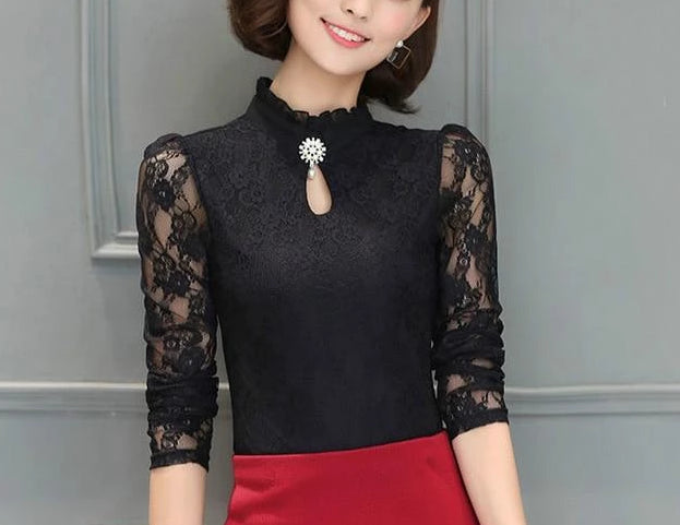 Ruffled Button Feminine Long Puff Sleeved Top Black