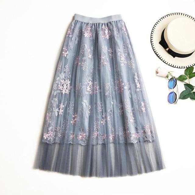 Floral Embroidery Long Pleated Skirt