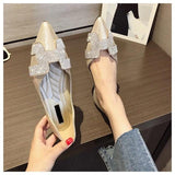 Crystal Pointed Toe Flat Ballet Shiny Shoes