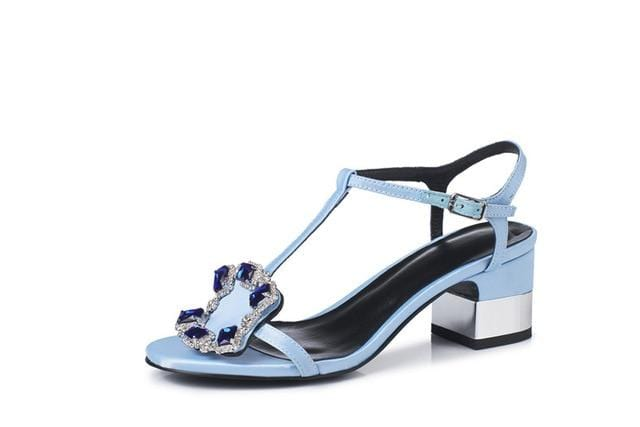 Rich Silk Party Prom Sandals Blue