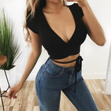 New Fashion Solid Short Sleeve Casual Tops Black