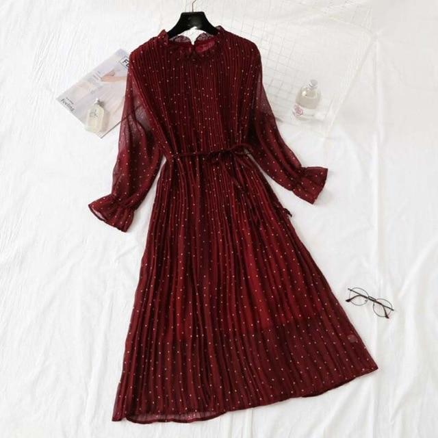 Pleated Print Casual Flare Sleeve Dress