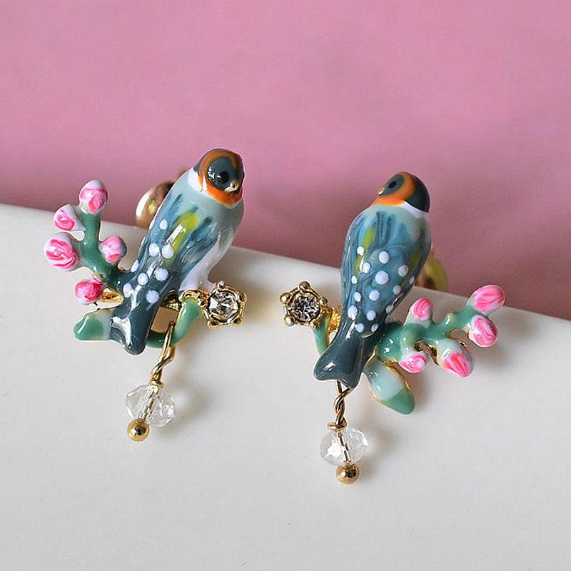 Unique Cute Casting Enamel Finches Silver Earrings