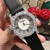 Diamond Rhinestone Fashion Leather Watch silver Black