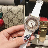 Diamond Rhinestone Fashion Leather Watch Silver White