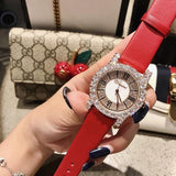 Diamond Rhinestone Fashion Leather Watch Gold Red