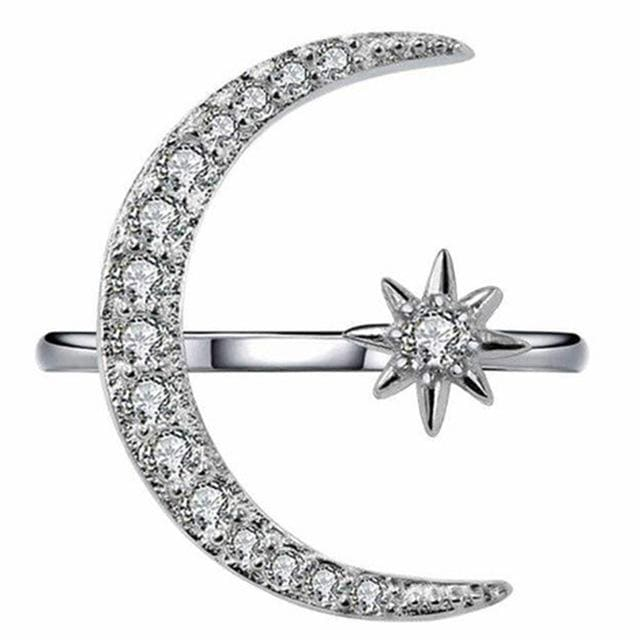 Dazzling Moon And Star Finger Ring Silver