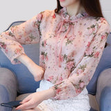 Ruffled Neck Long Sleeve Sweet Print Feminine Top Pink
