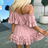 Off Shoulders Ruffle Pleated Mini Dress