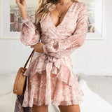 Sexy Ruffles Bow Print Vintage Short Dress Pink
