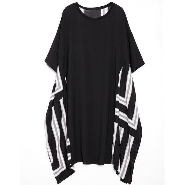 Irregular Hem Round Neck Black Striped Printed Dress