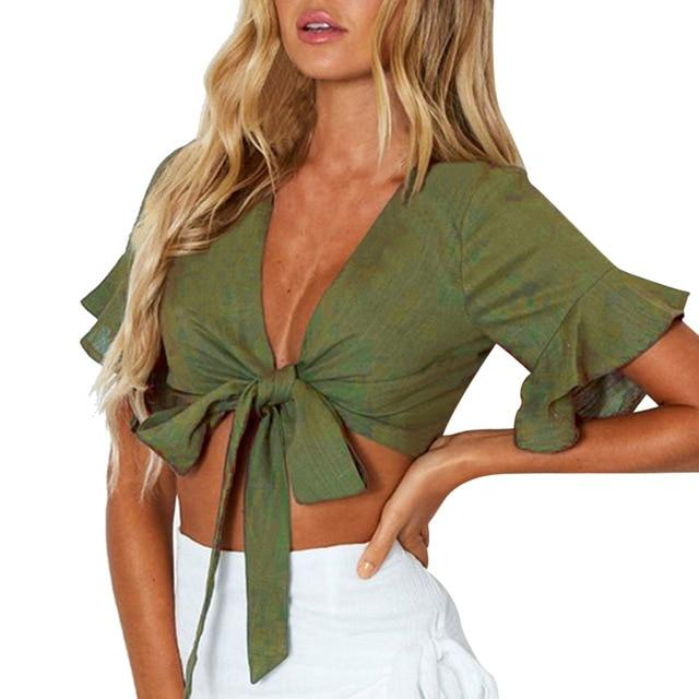 2019 Flare Sleeve Casual Tank Crop Tops Army Green