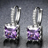 Cute Small Crystal Earrings Purple