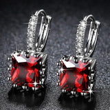 Cute Small Crystal Earrings Red