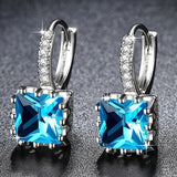 Cute Small Crystal Earrings Acid Blue
