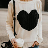 Heart Knitted Long Sleeve Pullovers