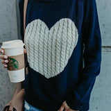Heart Knitted Pullovers Long Sleeve Women Sweaters