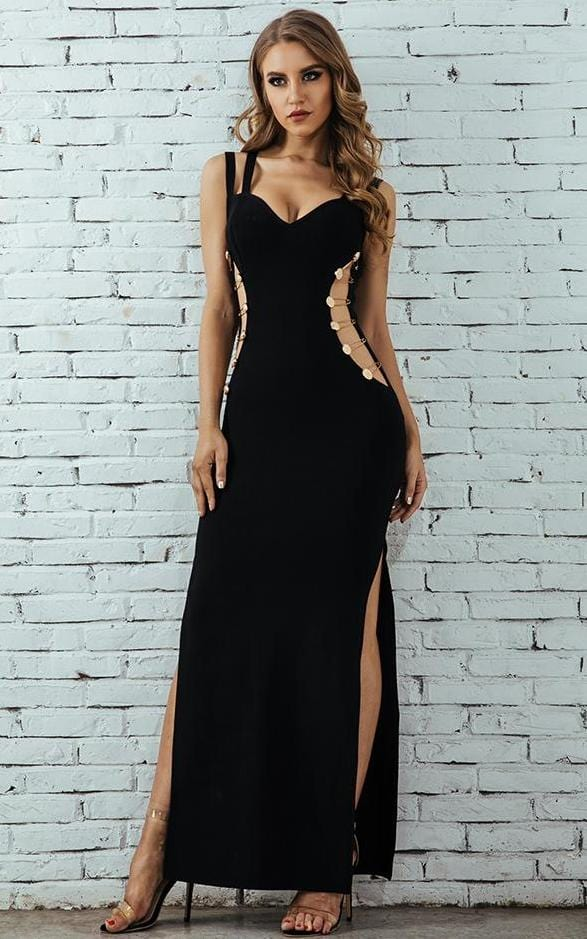 Spaghetti Strap Hollow Out Bodycon Club Dress Black