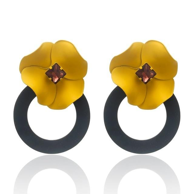Flower Round Statement Korean Drop Earring