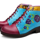 Bohemian Flower Vintage Ankle Boots
