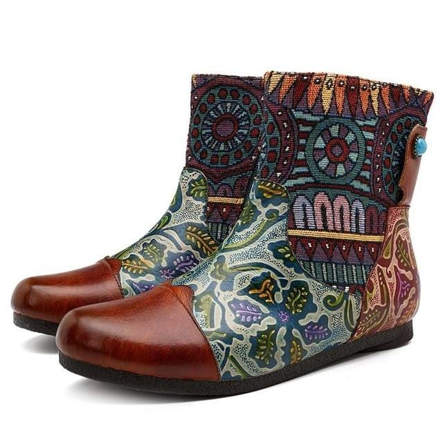 Vintage Print Unique Zipper Boots