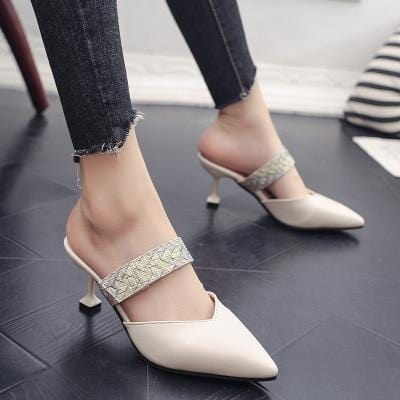 Rivets Embellished Pointed Pumps Creamy-White