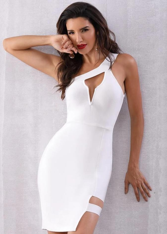 New Arrival One Shoulder Sexy Party Dress White