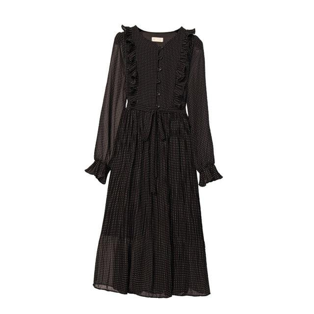 Vintage O-Neck Flare Sleeve Pleated Women Dress