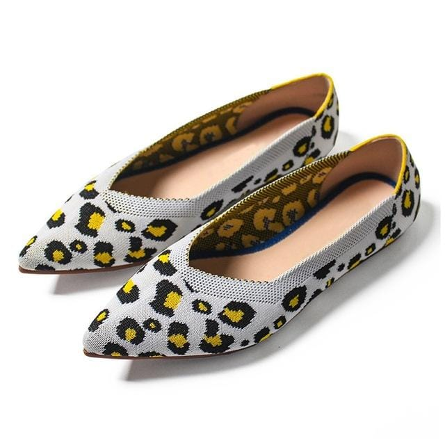 Leopard Print Casual Flats Shoes Blue