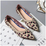 Leopard Print Casual Flats Shoes Khaki
