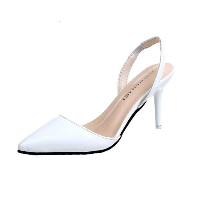 Unique High Heels Pointed Toe Sandals White