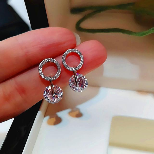 Double Crystal Zircon Round Stud Earrings