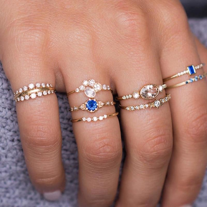 Moon Star Knuckle Ring Set