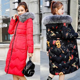 New Arrival Fur Hooded Long Winter Jacket Red