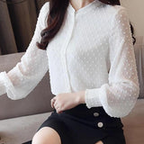 V Collar Wave Point Long-Sleeved Blouse Top White