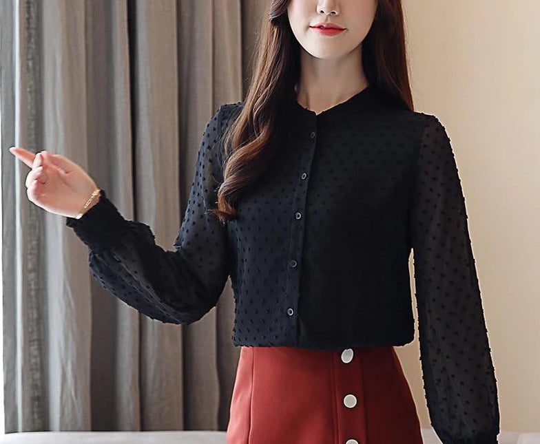 V Collar Wave Point Long-Sleeved Blouse Top Black