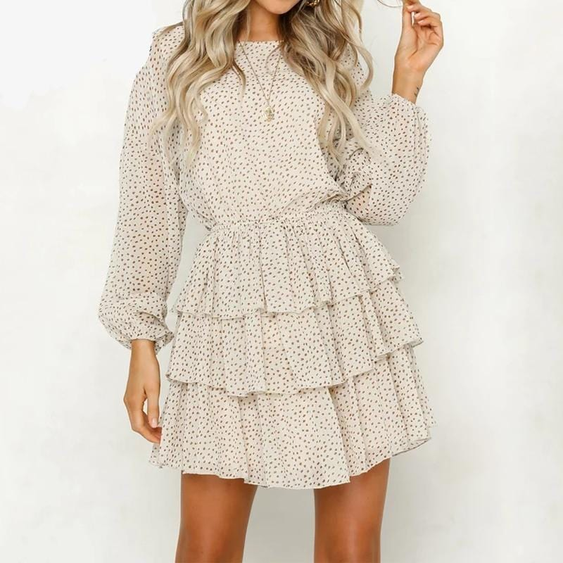 Mini Polk Dots Dress Beige