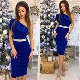 One Shoulder Sleeveless High Waist Bodycon Dress Blue