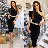 One Shoulder Sleeveless High Waist Bodycon Dress Black