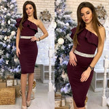 One Shoulder Sleeveless High Waist Bodycon Dress Brown