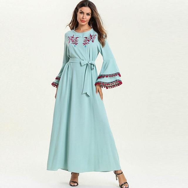 Round Neck Embroidery Design Flare Sleeve Maxi Dress