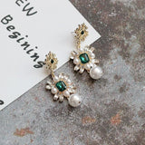 Vintage Crystal Stone Tassel Long Pearl Earrings