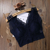 Strappy Bustier Lace Crocket Crop Top Navy Blue