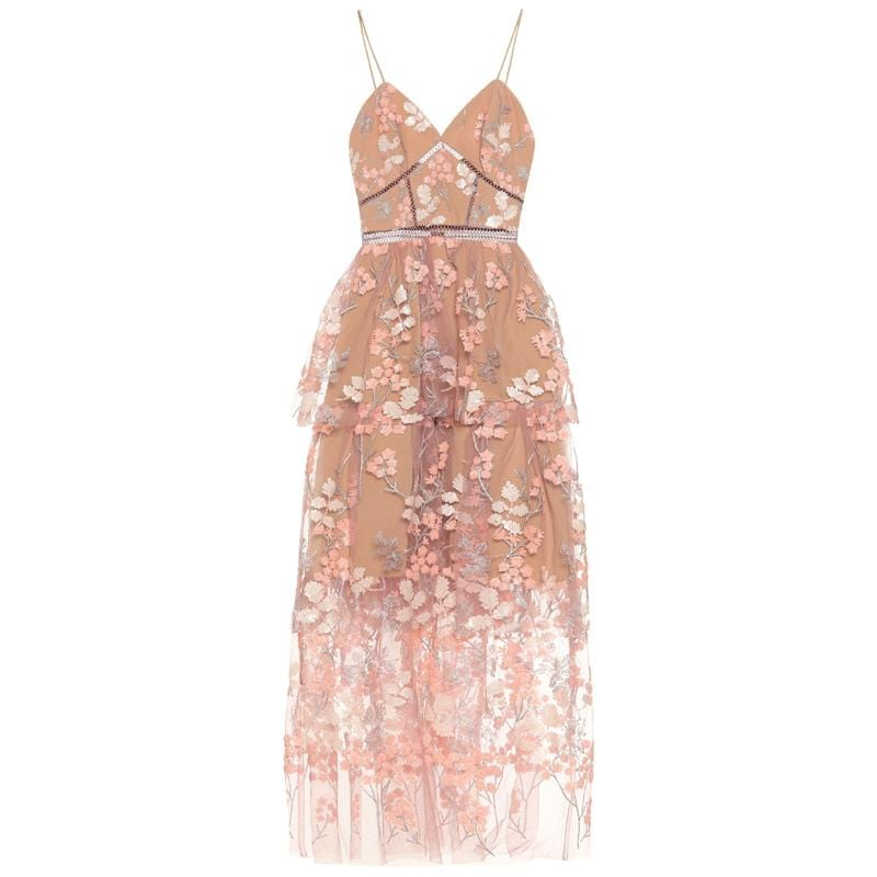 2019 New arrive Pink Floral-embellished dress