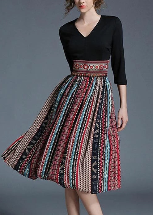 Vintage V Neck Printing High Waist  Knee-Length Dress