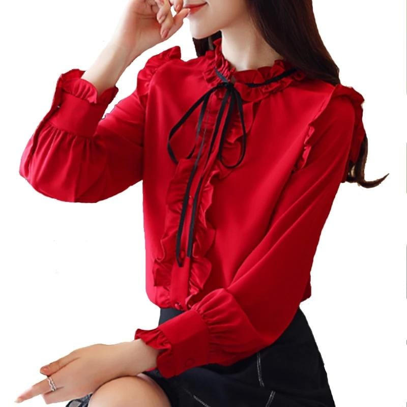 Korean Style Ruffles Casual Shirt Red