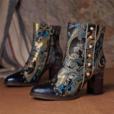 Unique Vintage Print Leather Boots