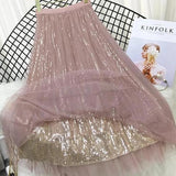 Sequin Tulle Long Maxi Skirt Pink