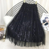 Sequin Tulle Long Maxi Skirt