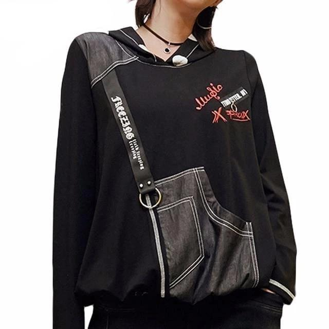 Fashion Hooded Punk Crop Top